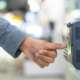 Employee scanning fingerprint